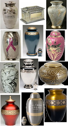 Brass cremation urns from Keepsakes and Memorials