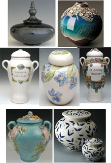 Ceramic shapes, cremation urns from Keepsakes and Memorials