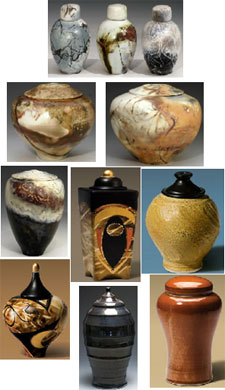 Ceramic cremation urns from Keepsakes and Memorials