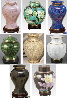 Cloissone cremation urns from Keepsakes and Memorials