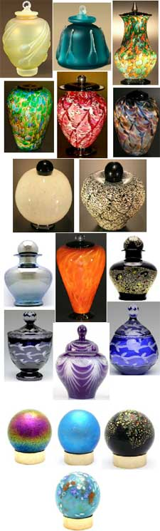 Glass cremation urns from Keepsakes and Memorials