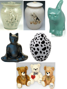 Pet cremation urns from Keepsakes and Memorials