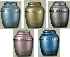 Pewter cremation urns from Keepsakes and Memorials