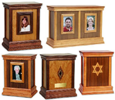 Picture frame wood cremation urns from Keepsakes and Memorials