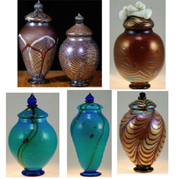Glass cremation urns from Strini Art Glass